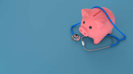 Piggy bank and stethoscope on a green background. Expensive medicine concept. Copy space for text. 3d render