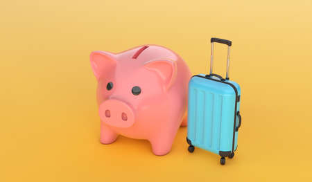 Pink piggy bank with a blue suitcase on yellow background. 3d render