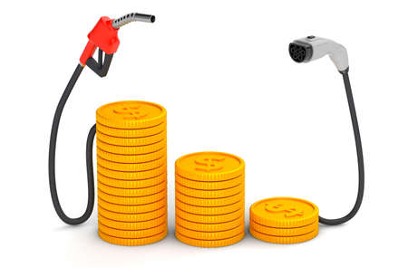 Expensive and cheap fuel. Fuel pump and plug for electric vehicles with gold coins. isolated on white background. 3d render