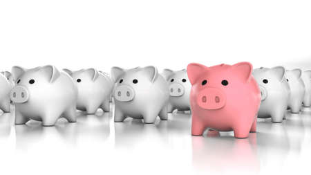 Pink piggy bank leader and many white piggy banks. Special piggy bank. 3d render