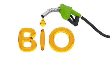 Biofuels. Fuel pump with a drop in the form of the BIO lettering. isolated on white background. 3d render Фото со стока