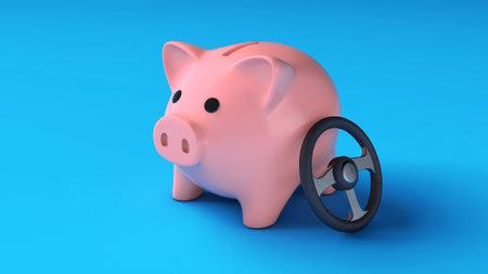 Piggy bank and car steering wheel. Savings on the car. 3d render