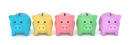 Colored piggy banks. Piggy banks for different needs. isolated on white background. 3d render Фото со стока
