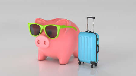 Piggy bank in sunglasses and a suitcase. Vacation savings concept. 3d render