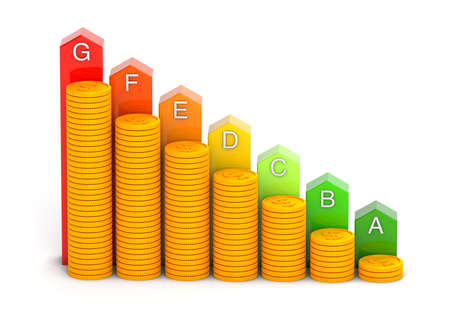 Energy efficiency rating and money. Colored arrows graphics and stacks of gold coins. isolated on white background. 3d render