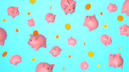 Piggy banks and coins in flight, levitation. Blue background. 3d render