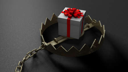 Trap with a bait in the form of gift box. 3d render
