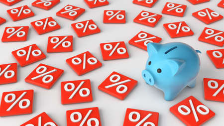 Piggy bank and interest. The concept of calculating interest on savings. 3d render