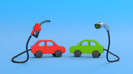 Fuel pump and plug for charging electric vehicles on a blue background. The concept of the choice of fuel for the car. 3d render