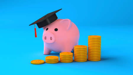 Expensive education. Coins with a stack of steps and a piggy bank in a graduate cap on a blue background. Savings for education. 3d render