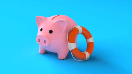 Savings insurance. Piggy bank with lifebuoy on a blue background. Help in saving money. 3d render