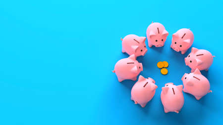 Piggy banks in a circle near money coins on a blue background. Profit sharing. Top view. Copy space for text. Separation of attachments. 3d render Фото со стока