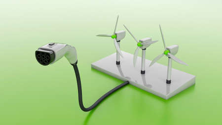 Wind turbine and plug for charging electric cars. Wind energy for powering electric vehicles. 3d render