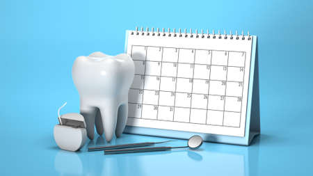 Reminder calendar for visiting the dentist. Dental appointment, check. Calendar with tooth and dental mirror and dental floss on a blue background. 3d render