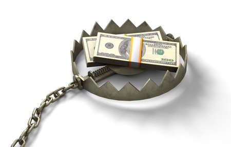 Trap with money. Pile of money as bait. isolated on white background. 3d render