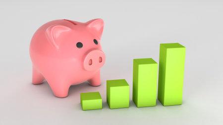 Piggy bank and graph of growth upward. 3d render