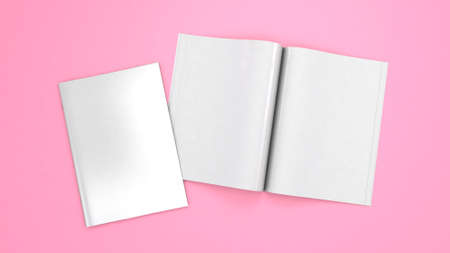 Open magazine mockup. Blank magazine template for copy space. Empty space in cover. Pink background. 3d render Фото со стока