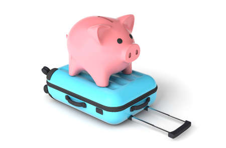 Pink piggy bank on a blue suitcase. Budget tourism. isolated on white background. 3d render