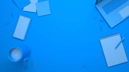 Desktop top view. Blue background laptop, cup, pencil, phone, paper clips. 3d render