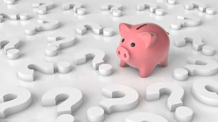 Pink piggy bank and question marks. The concept of where to invest money, investments. 3d render