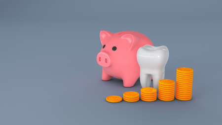 Piggy bank and a tooth with a stack of coins. Concept for expensive dental treatment. 3d render