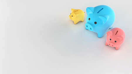 Different colored piggy banks, small and large. Copy space for text. 3d render