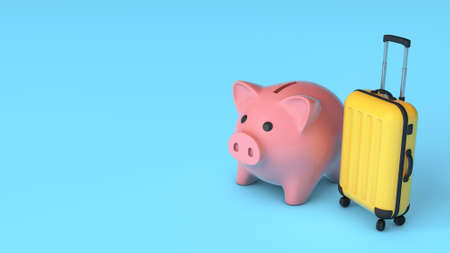 Pink piggy bank and yellow suitcase on a blue background. Vacation money saving concept. Budget tourism. Copy space for text. 3d render Фото со стока