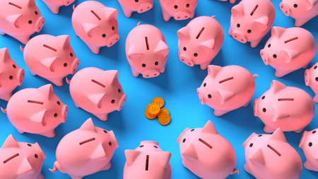 Lots of pink piggy banks around a stack of money coins on a blue background. Profit sharing. Saving income. Top view. 3d render Фото со стока