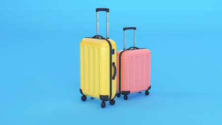 Two suitcases, yellow and pink on a blue background. Copy space for text. 3d render Фото со стока