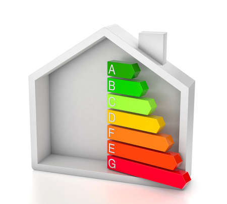 Home energy efficiency rating. House and colored arrows graphics. isolated on white background. 3d render Фото со стока