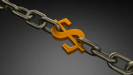 Chain and one link in the form of a dollar sign. Dollar debt, restrictions. 3d render Фото со стока