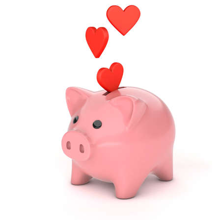 Hearts fall into the piggy bank. Charity and aid concept. isolated on white background. 3d render