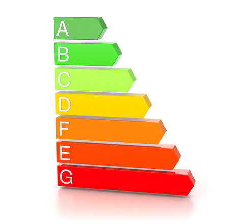Energy efficiency rating. Colored arrows graphics. isolated on white background. 3d render Фото со стока