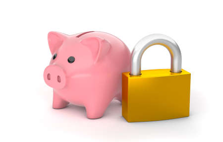 Piggy bank and closed padlock. Savings protection, insurance. isolated on white background. 3d render Фото со стока