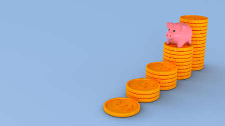 Piggy bank and stacks of coins. Savings growth concept. Blue background. Copy space for text. 3d render Фото со стока