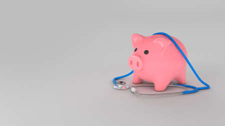 Piggy bank and stethoscope. Concept for expensive insurance. Copy space for text. 3d render
