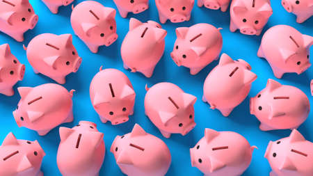 Crowd of pink piggy banks on a blue background. Top view. 3d render