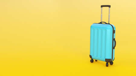 Blue suitcase on a yellow background. Copy space for text. 3d render Фото со стока