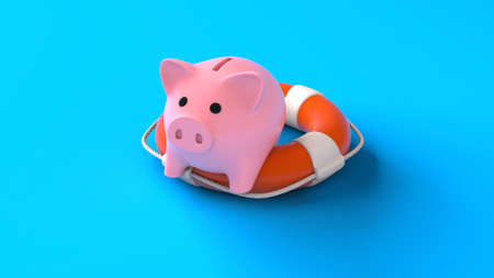 Savings insurance. Piggy bank on a lifebuoy on a blue background. Help in saving money. 3d render