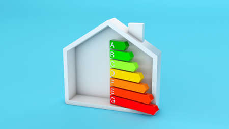 Home energy efficiency rating. House and colored arrows graphics on a blue background. 3d render