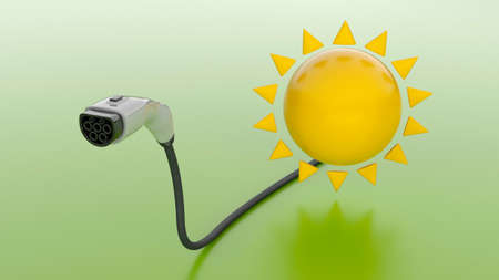 Solar energy for charging an electric car. Charging plug and sun on a green background. 3d render Фото со стока