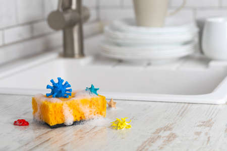 Sponge for washing dishes with viruses and microbes on the background of the kitchen and plates.