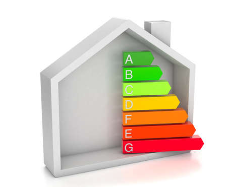 Home energy efficiency rating. House and colored arrows graphics. isolated on white background. 3d render Stock Photo