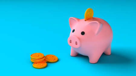 Coin falls into a piggy bank on a blue background. 3d render