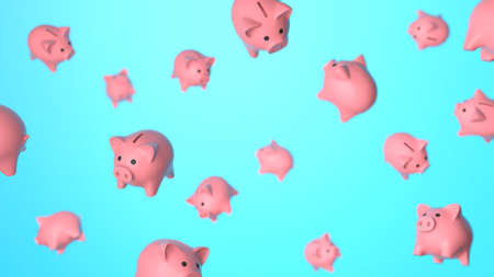 Piggy banks in flight, levitation. Blue background. 3d render Stock Photo
