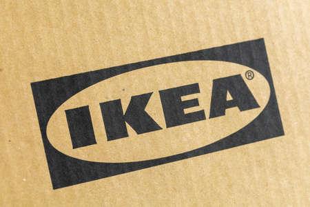 KIEV, UKRAINE - May 21, 2021: IKEA logo on cardboard box