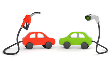 Fuel pump and plug for charging electric vehicles isolated on white background. The concept of comparing fuel for the car. 3d render