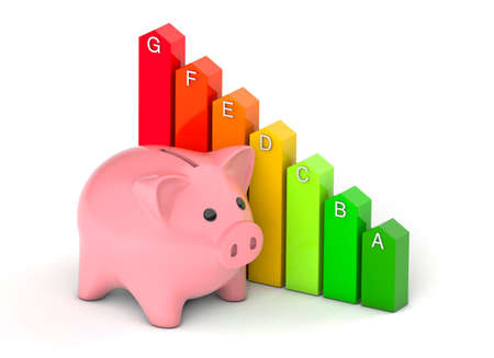 Piggy Bank and Energy Efficiency Rating. Colored arrows graph. isolated on white background. 3d render