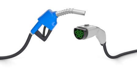 Fuel pump and plug for charging electric vehicles. isolated on white background. 3d render