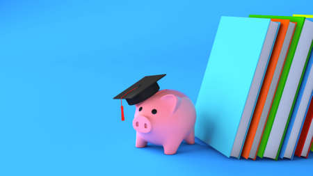 Piggy bank and books. Savings for education. Copy space for text. 3d render